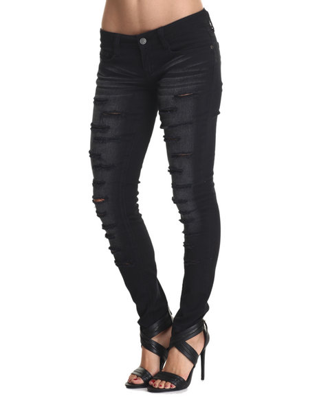 Rampage - Women Black Lexi Low Rise Black Sand Blasted Destructed Jean