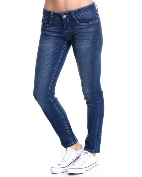Rampage - Women Blue Lexi Low Rise Skinny Jean W/ Rolled Cuff