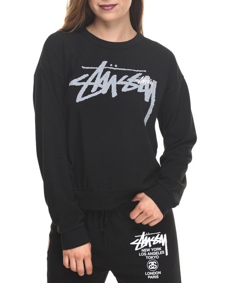 Stussy - Women Black Over Stock Tomboy Sweatshirt - $47.99