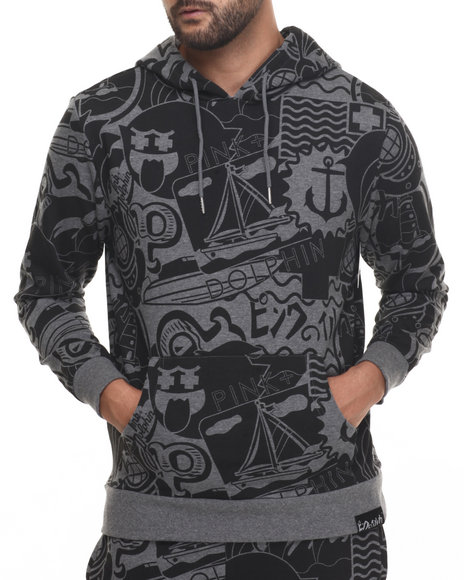 Pink Dolphin - Men Grey Timeless Pullover Hoodie