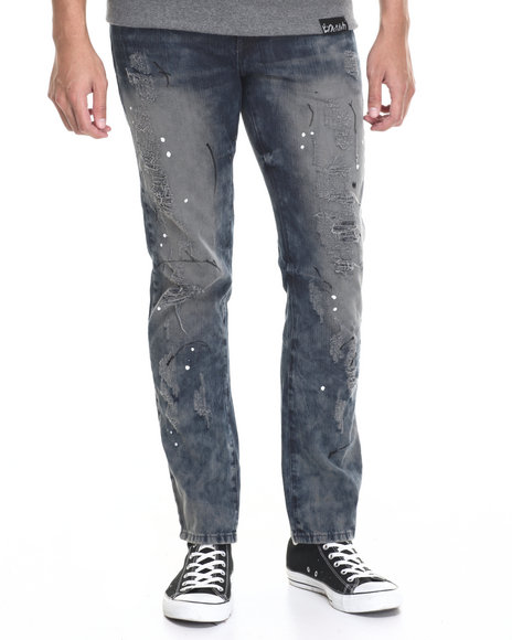 Pink Dolphin - Men Medium Wash Deconstructed Painter Denim Jeans
