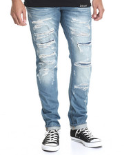 Men - FRAGMENTED TAPERED DENIM JEANS