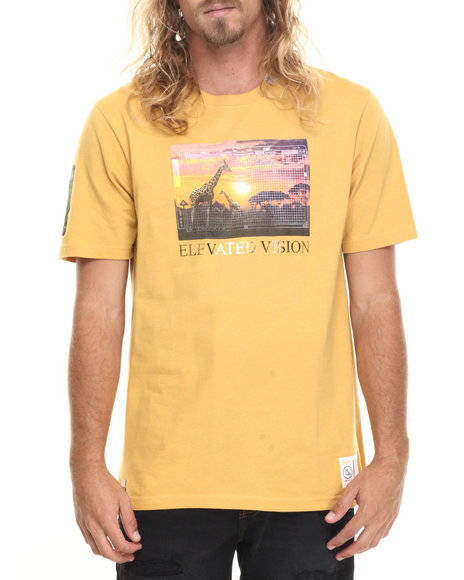 Lrg - Men Yellow Roots Safari Collage T-Shirt