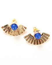 DRJ Accessories Shoppe - Fan Earrings w/ Stone