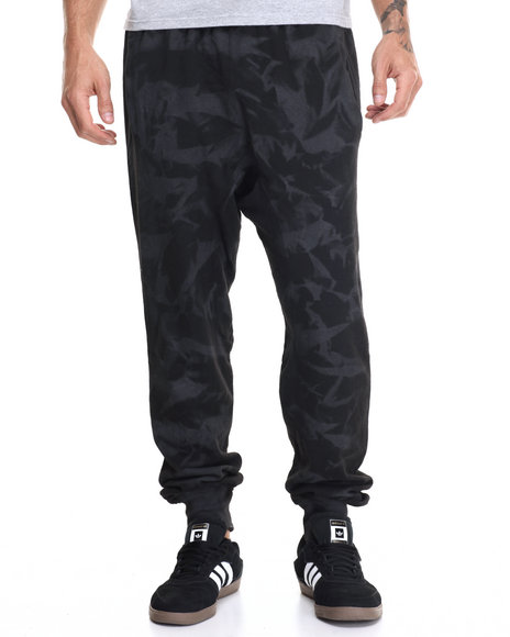 Buyers Picks - Men Black Tie Dye Spray Drop Crotch Jogger