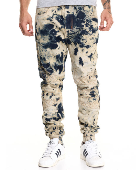 Buyers Picks - Men Vintage Wash Tie Dye Biker Jean Jogger