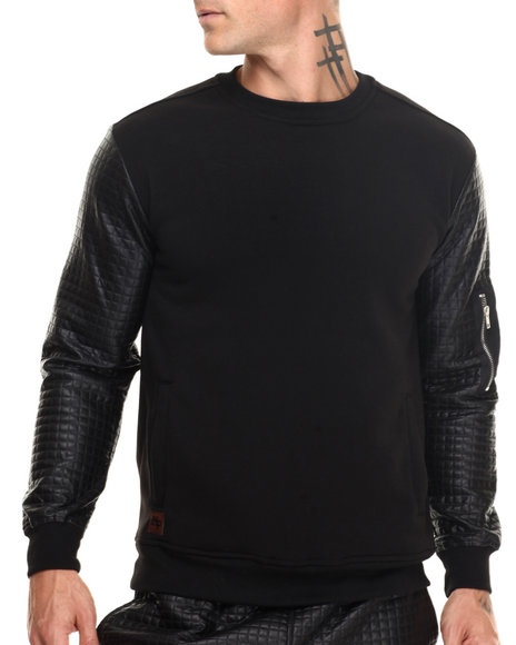 Buyers Picks - Men Black Quilted Sweatshirt W Nylon Pckt Sleeve
