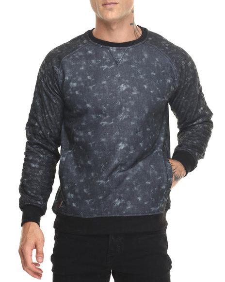 Buyers Picks - Men Black Burnout Sweatshirt W Quilt Sleeve