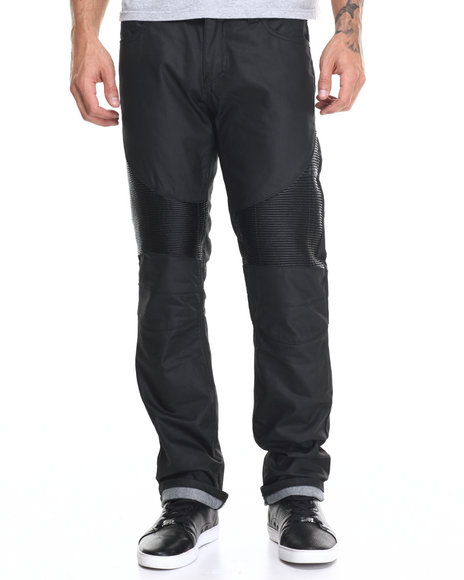 Buyers Picks - Men Black Coated Pu Bike Jean