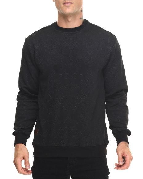 Buyers Picks - Men Black 3D Neoprene Filigree Pattern Sweatshirt