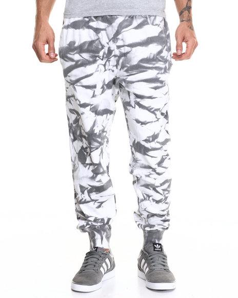 Buyers Picks - Men Grey,White Tie Dye Spray Drop Crotch Jogger