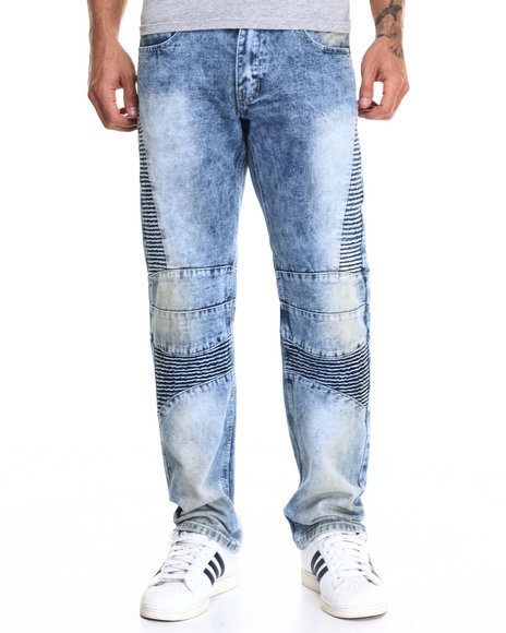 Buyers Picks - Men Light Wash Cloud Wash Antique Biker Jean