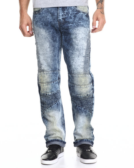 Buyers Picks - Men Medium Wash Cloud Wash Med Rinse Biker Jean