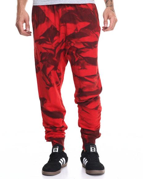 Buyers Picks - Men Red Tie Dye Spray Drop Crotch Jogger