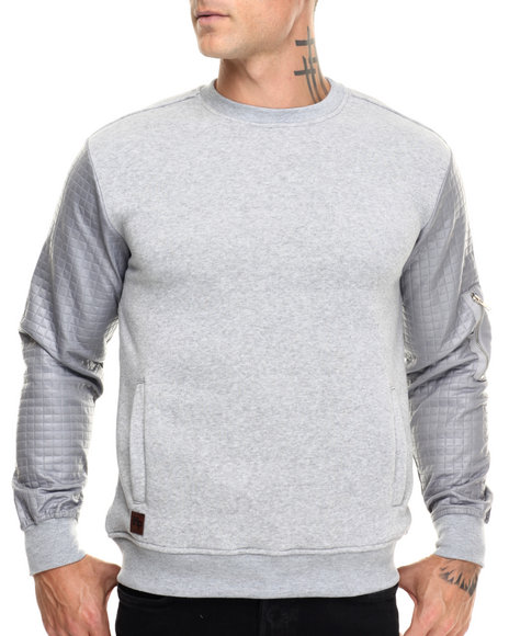 Buyers Picks - Men Grey Quilted Sweatshirt W Nylon Pckt Sleeve
