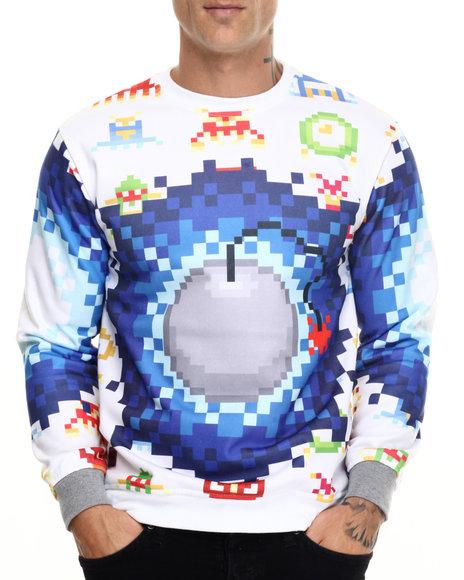 Buyers Picks - Men White Video Game Bomber Crewneck Sweatshirt