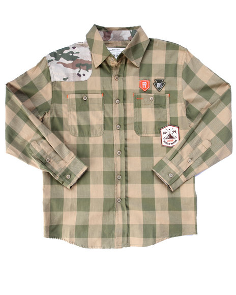 Parish - Boys Olive Camo Patch Plaid Woven (8-20) - $44.99