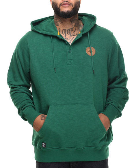Lrg Men Rc Pullover Hooded Henley (B&T) Green 4X-Large