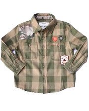 Black Friday Shop - Boys - CAMO PATCH PLAID WOVEN (2T-4T)