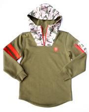 Hoodies - FLEECE PULLOVER W/ NYLON CAMO HOOD (8-20)