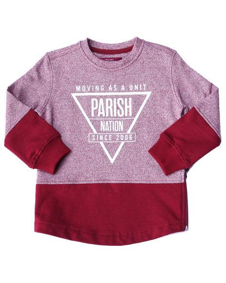 Parish - Boys Maroon Marled Fleece Crew Sweatshirt (2T-4T) - $30.99