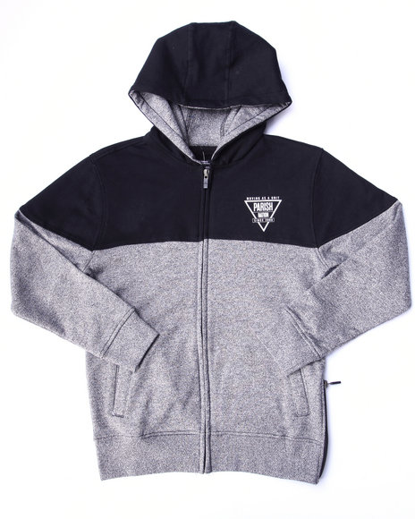 Parish - Boys Black Marled Fleece Full Zip Hoody (8-20)