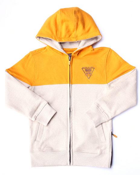Parish - Boys Khaki Marled Fleece Full Zip Hoody (4-7)
