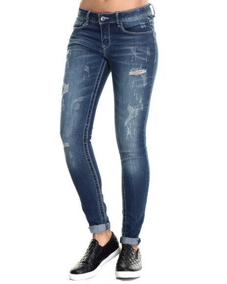 Rampage - Women Blue Sophie Mid Rise Destructed Jean W/ Rolled Cuff