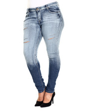 Basic Essentials - Darted 5 PKT Skinny Jean w/ Embroidered Back PKT (Plus)