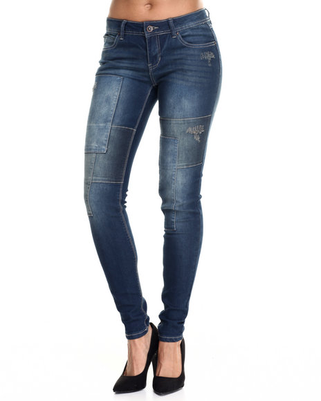 Fashion Lab - Women Dark Wash Paint Splatter Panel Skinny Jean - $31.99