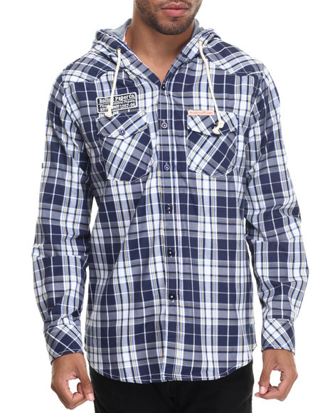 Rolling Paper - Men Navy Plaid Hooded L/S Button-Down - $35.99
