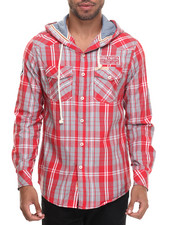 Button-downs - Plaid Hooded L/S Button-Down