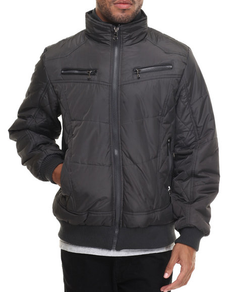 Buyers Picks Men Espoo Fashion Quilted Bomber Jacket Charcoal Medium