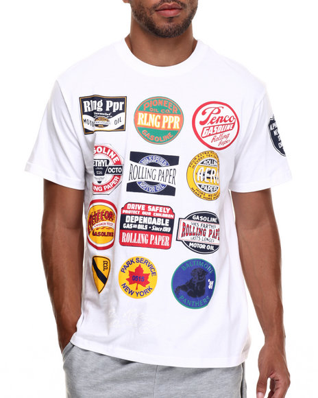 Rolling Paper - Men White Print Patch T-Shirt - $38.99