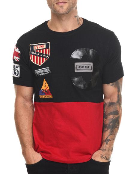 Heritage America - Men Black Color Block T-Shirt