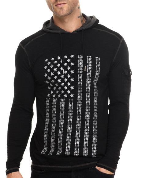 Buyers Picks - Men Black Studded Flag L/S Hooded Tee
