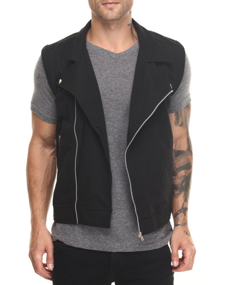 Buyers Picks - Men Black Fleece Moto Vest