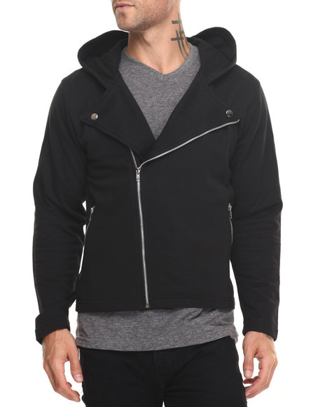 Buyers Picks - Men Black Fleece Moto Jacket