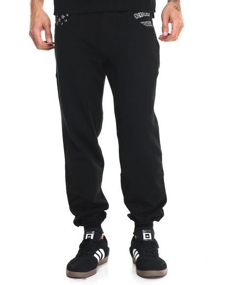 Buyers Picks - Men Black Studded Flag Jogger