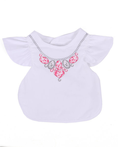 Drj Baby Heaven Shop Girls Jewels Fancy Bib (One Size) White