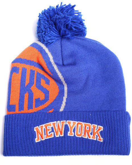 Adidas Men New York Knicks Cuffed Knit Pom Hat Blue