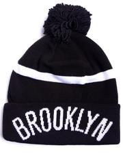 Adidas - Brooklyn Nets logo cuffed knit pom hat