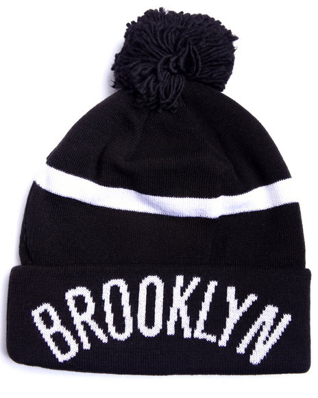 Adidas Men Brooklyn Nets Logo Cuffed Knit Pom Hat Black - $22.99