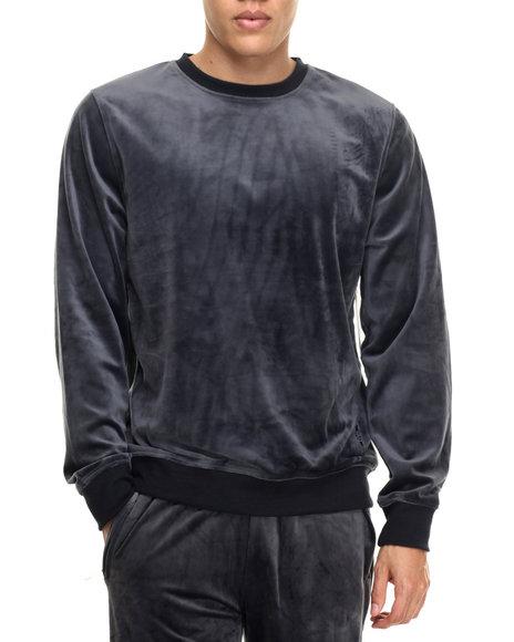 Akademiks - Men Grey All Day Velour Sweatshirt