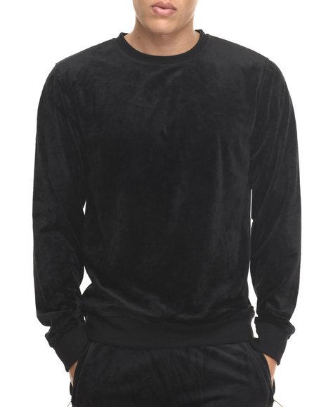 Akademiks - Men Black All Day Velour Sweatshirt