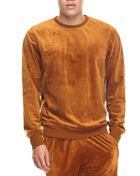 Akademiks - Men Khaki All Day Velour Sweatshirt