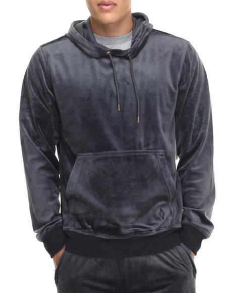 Akademiks - Men Grey West Velour Pullover Hoody