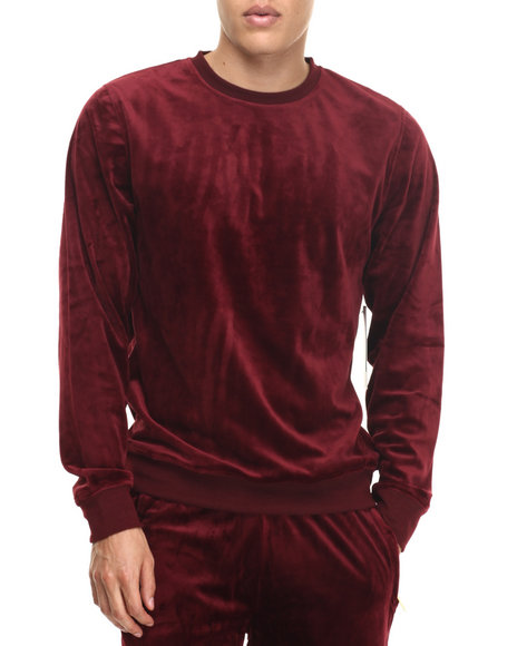 Akademiks - Men Red All Day Velour Sweatshirt