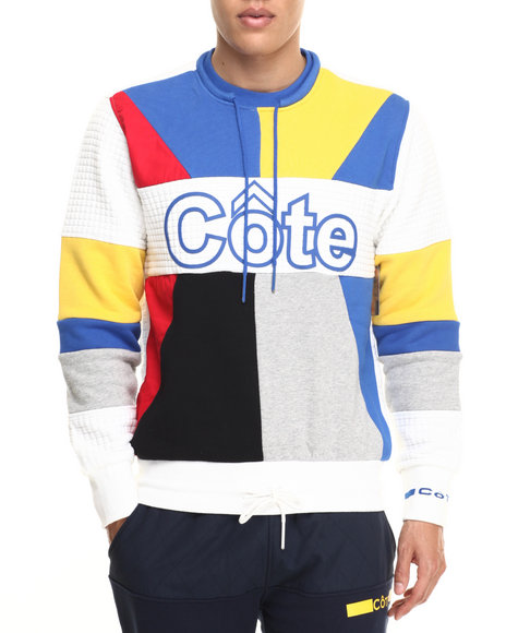 Cote De Nuits - Men White Color Blocked Quilted Pullover