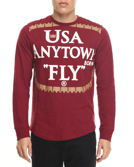 Born Fly - Men Maroon Cummings L/S Tee